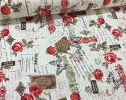 Vintage Drapery Fabric Vintage Fabric French Country Fabric Linen Cotton Fabric