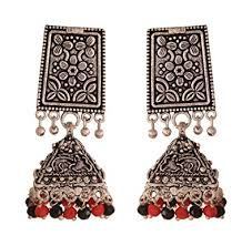 metal earings buy ganapathy gems and black metal jhumki earrings for women