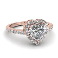 heart shaped halo diamond engagement ring in 14k gold