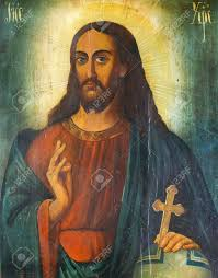 russian icon of jesus christ with christian cross in his hand