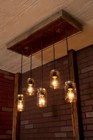 How To Mason Jar Chandelier Mason Jar Chandelier With Reclaimed Wood And 5 Pendants