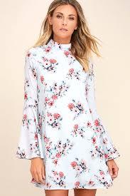 cute light blue floral print dress shift dress bell sleeve