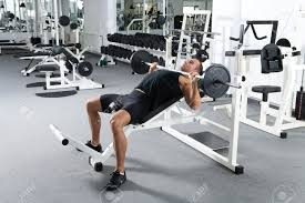 bench barbell incline bench young bodybuilder training gym chest