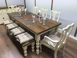 large 7ft farmhouse table and chairs bench shabby chic oak pine