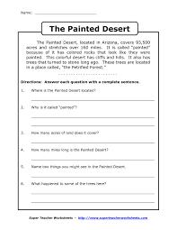 comprehension worksheet for 1st grade y2 p3 the painted desert