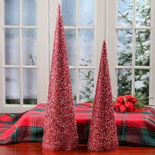 red and silver sequin cone trees table decor christmas and