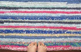 Crochet Rugs With Fabric Strips Sewing Crocheted Potholder With Fabric Strip Yarn