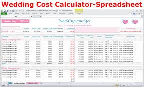Budget Calculator Spreadsheet by Wedding Costs Calculator Excel Wedding Expenses Worksheet