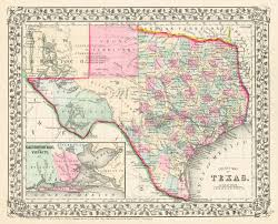Counties In Texas Map County Map Of Texas S Aug Mitchell Jr 1870 Inset Of