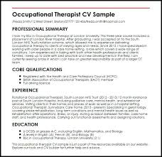 sample resume for occupational therapist occupational therapist
