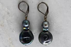 spacer earrings black of pearl coin and swarovski spacer earrings