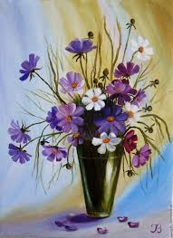 flower painting handmade livemaster handmade bouquet of cosmos oil painting