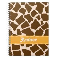 giraffe pattern notebook cute personalized spiral bound notebooks zazzle com