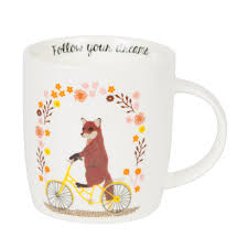 fox mug follow your dreams fox on bike mug skrinjica store