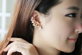 ear cuff aliexpress buy rhinestone flower ear cuff earrings