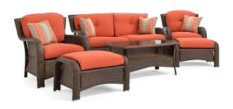 Replacement Cushions For Wicker Patio Furniture - sawyer 6pc resin wicker patio furniture conversation set orange
