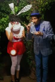 halloween costume alice in wonderland white rabbit mad hatter