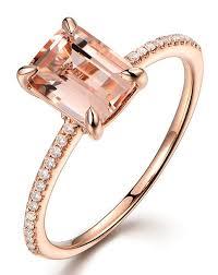 morganite gold engagement ring 1 carat morganite and cut diamond engagement ring in