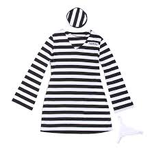 halloween inmate costume men women u0027s convict jail prisoner costume black white striped