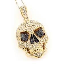 mens rose gold necklace images 14k gold mens white black diamond skull pendant 9 17ct jpg
