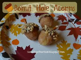 thanksgiving acorn treats come together kids donut hole acorns