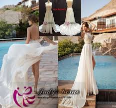 casual chagne wedding dresses lace wedding dress chagne color front slit casual
