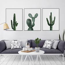 cactus home decor simple pastoral green cactus wall art canvas print poster wall