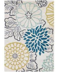 Aqua Area Rug Colorful Area Rug Inspired By Tropical Flowers In Aqua Blue Yellow