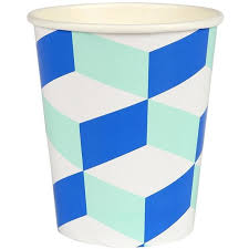 party cups meri meri cubic blue and mint patterned party cups cups and straws
