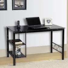 Glass Top Computer Desks For Home Glass Glass Credenza Inside Black Glass Top Computer Desk Eyyc17 Com