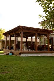 Wrap Around Deck by Timber Frame Pergola With Lattice Full Wrap Around Roof Over