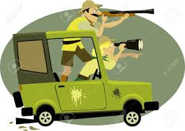 Couple Dressed In Safari Style Clothes Pursuing Game On A Jeep