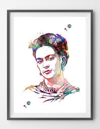 frida kahlo watercolor print frida kahlo portrait illustration
