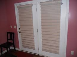 Wood Patio Doors With Built In Blinds by Gray Etnic Mini Blinds For White Stained Wooden Frame Double Swing