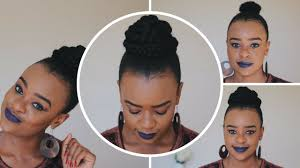braided bun updo on short natural hair tutorial south african