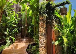 exterior outdoor shower idea for backyard applying dark brown