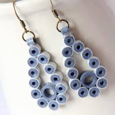 handmade paper earrings save 75 clearance blue teardrop earrings by honeysquilling on zibbet