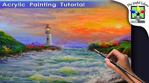 light house in the beach during sunset painting tutorial for beginners acrylic art lesson beginner
