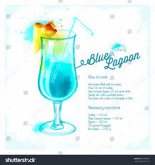 blue lagoon cocktails drawn watercolorrecipes ingredients stock