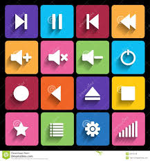 buttons designen set of media player buttons in flat design style stock vector