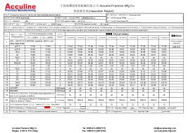 part inspection report template china acculine sheet metal drawing quality inspection re