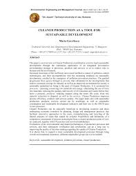 cleaner production as a tool for sustainable development pdf