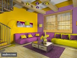 this yellow and purple room is very cool the colors are evened