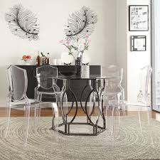 Round Glass Table And Chairs Concord Black Nickel Plated Round Glass Dining Table By Inspire Q