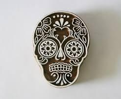 sugar skull st indian carved wood block 2 gilberts tree
