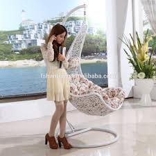 Swinging Chair For Bedroom Promotional Cheap All Weather White Rattan Patio Hanging Swing