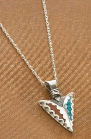 turquoise necklace silver chain images Silver turquoise arrowhead necklace wild wings jpg