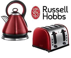 russell hobbs legacy twin pack kettle u0026 4 slice toaster red