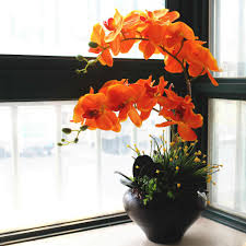 artificial orchids 2018 orange color orchids cloth flower with leaves artificial