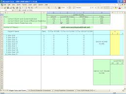 Excel Spreadsheet Development Euro 2008 Game Score Prediction Excel Spreadsheet